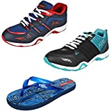 Super Men/Boys Canvas Combo Pack Of 3 Sports Shoes & Slippers