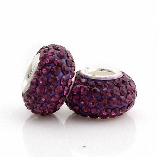Taotaohas-(1Pc) Unthreaded Charm Beads Made With Swarovski Elements Crystal Czech Rhinestone, [ Name: One Color, Color: Burgundy ], Pure 100% Solid Sterling 925 Silver Core, Fit European Bracelets Necklaces Chains, Troll, Biagi