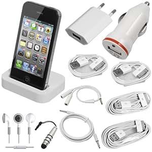Ensemble 11 en 1 câbles de chargement et de données USB 1 / 2 / 3 mètres + adaptateur chargeur secteur mural prise UE + chargeur allume-cigare (chargeur de voiture USB) + station d'accueil + écouteur + séparateur d'écouteur + câble Auxiliaire (câble AUX) + mini stylet pour iPhone 4 4G 4S 3GS 3G iPod BC71