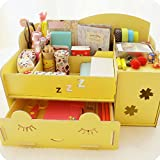 Elegant DIY Girly Stylish Wooden Collapsible Office Supplies Desk Drawer Removable Dividers Portable Cosmetics Jewellery Storage Organizer with Multi Compartments (Yellow)