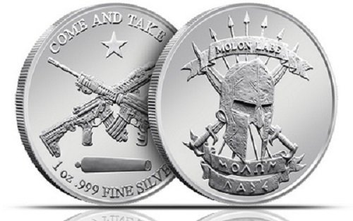 1 - Molon Labe 'Come and Take It' Silver Round - - -