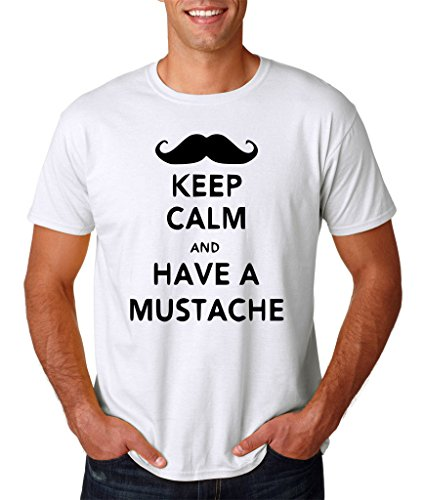 "Keep calm have mustache Mens T Shirt Black White XL To Fit Chest 44-46"" (106-111cm)"