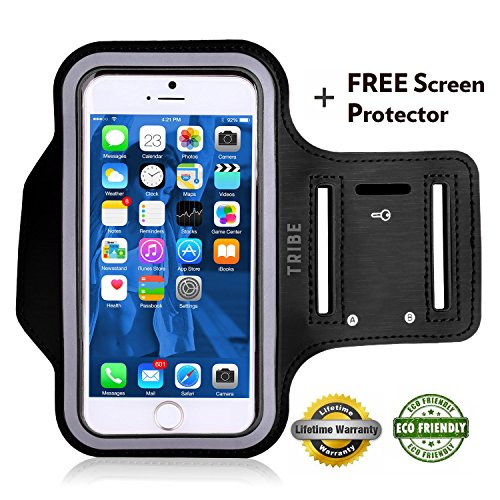 Tribe-AB66-Water-Resistant-Sports-Armband-with-Key-Holder-for-iPhone-7-Plus-6-Plus-6S-Plus-55-Inch-Galaxy-S6S5-Note-4-Bundle-with-Screen-Protector