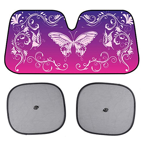 BDK Swirl Butterfly SunShade - Mystic Butterflies - Folding Accordion with Anti Glare Sun Shade (Sun Visor Butterflies compare prices)