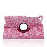 Generic 360 Degrees Rotating Embossed Flower Design PU Leather Smart Case for Google New Nexus 7 FHD 2nd Gen Nexus 2 7.0 Inch 2013 Generation Android 4.3 Tablet- Pink