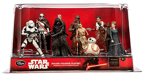 "Star Wars Disney The Force Awakens ""DELUXE"" 10 pvc Figure Figurine doll Playset - Han Solo, Leia, Poe, Chewbacca, Flametrooper, Phasma, Kylo, Rey, BB-8, Finn"