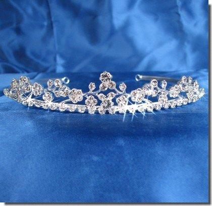 SC Bridal Wedding Tiara Crown With Crystal Flowers