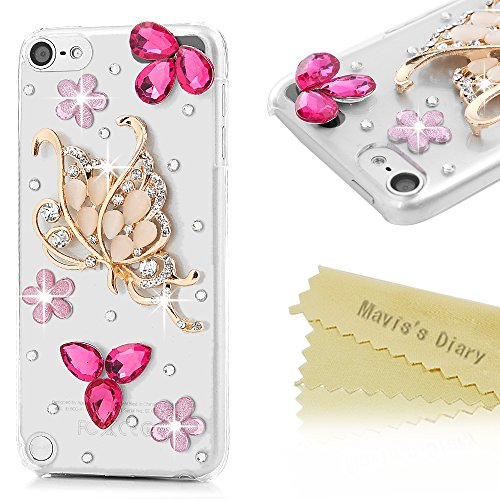 iPod 5 Case,iPod Touch 5th Generation Case - Mavis's Diary 3D Handmade Bling Crystal Clear Case with Shiny Glitter Diamonds Rhinestones Twinkly Gems Hard PC Cover - Golden Butterfly with Pink Flowers (Ipod 5 Cases Pink Gems compare prices)