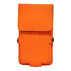 Jo Jo A6 G8 Series Leather Pouch Holster Case For Wynncom G1 Orange