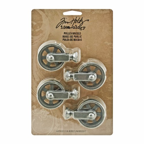 Metal Pulley Wheels by Tim Holtz Idea-ology, 4 per Pack, 2-1/8 Inches Tall, Silver Oxide Finish, TH93008 (Metal Wheels compare prices)