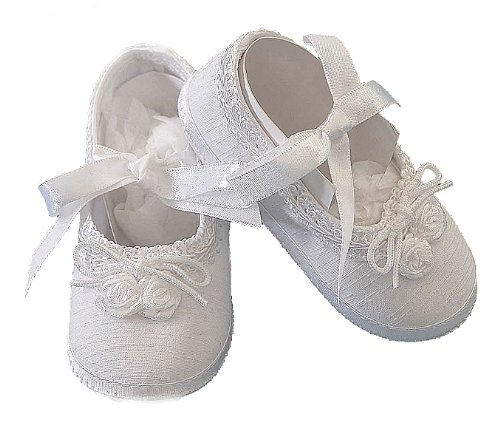 Lauren Madison baby girl Christening Baptism Special occasion Infant Shantung Ballerina Slipper, White, Large
