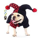 SCT ペット用品 犬服冬暖かいハロウィンコスプレコスチューム ピエロ 仮装 変装(S)
