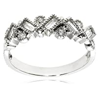 14k White Gold Round and Baguette Diamond Ring (3/8 cttw, H-I Color, I2 Clarity)