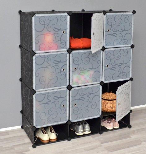 Armadio completo di vani per le scarpe, mobiletto da bagno, armadio da cameretta, con 9 scomparti, in nero e bianco trasparente