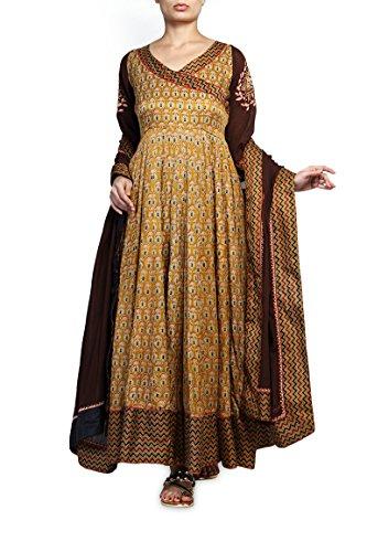 Mustard Timannya Womens Mustard Gajji Silk Anarkali (Yellow)