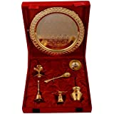 "Kapasi Handicrafts Brass [Gold Coated] Set Of Pooja Plate Pooja Article ( L X B X H ) 8.5"" X 8.5"" X 3"" Inches"