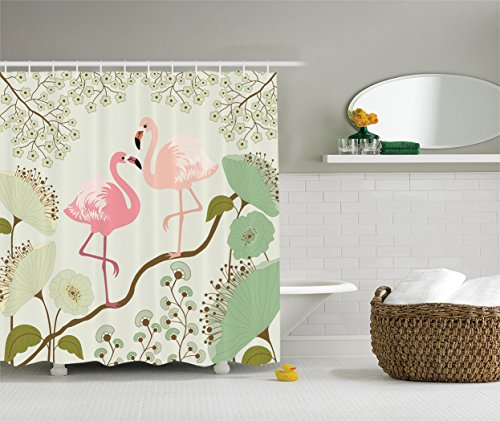 Ambesonne Wildlife Decor Collection, Blossom Floral Background with Pair of Flamingos Painting, Polyester Fabric Bathroom Shower Curtain Set with Hooks, Teal Pink Beige