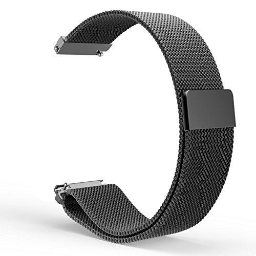 Gear S2 Classic Smartwatch Bracelet, MoKo Watch Band Milanais en acier inoxydable avec Fermeture Magnétique pour Samsung Gear S2 Classic SM-R732, NOIR (Ne s'adapte pas à Samsung Gear S2)