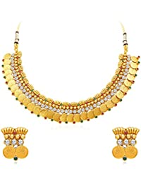 Sukkhi Pleasing Gold Plated Temple Jewellery Necklace Set For Women