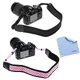 BIRUGEAR 2 Pack Pink/Black Anti-Slip Soft Neoprene Camera Shoulder Neck Strap Belt for Nikon Df, COOLPIX D7100, D5300, D5200, D5100, D3200, D800, D610, L830, L820, L810, L310, P7800, P520, P510 ; FujiFilm X-E2, X-M1 ; Olympus Stylus 1, E-M1, E-M5, SP-620