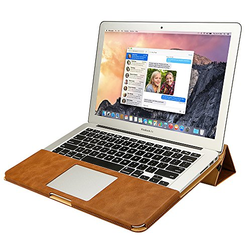 MacBook Air 13 ケース Jisoncase® case for マックブック エアー カバー PUレザー ファッション ブック型 薄型 防塵 スタンド機能 通風孔付き 放熱構造 耐摩擦 耐汚れ 手作り ハンドメイド 全三色 生涯保障(ブラウン JS-AIR-06R20)