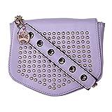 Moedbuille Violet Polyurethane (PU) Sling Handbag
