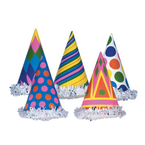 Fringed Party Hats (asstd designs) Party Accessory  (1 count)