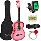 Best Choice Products 38in Beginner Acoustic Guitar Bundle Kit w/Case, Strap, Tuner, Pick, Pitch Pipe, Strings - Pink