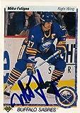 Mike Foligno Buffalo Sabres Autographed 1990-1991 UD Card # 378 SL COA 18734