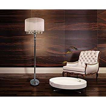 Elegant Designs LF1002-WHT Sheer Shade Chrome Floor Lamp with Hanging Crystals, White