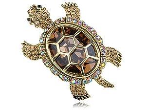 Multi Colored Crystal Rhinestone Gold Tone Sea Turtle Tortoise Animal Pin Brooch