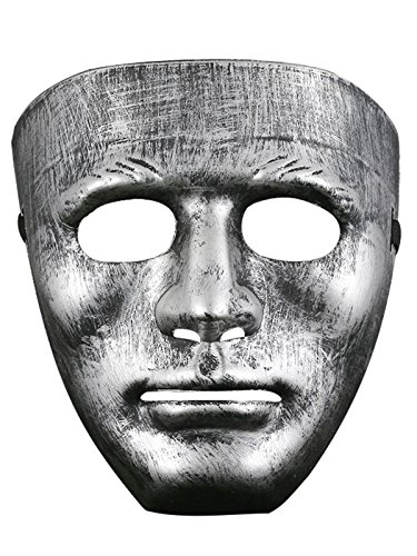 [Absoultely Perfect Creepy Scary Halloween Party Costume Decorations Mask C Silver One Size] (Homemade Scary Clown Halloween Costumes)