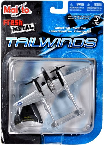 Maisto Fresh Metal Tailwinds 1:108 Scale Die Cast United States Military Aircraft - US Army Air Corps World War II Fighter Aircraft P-38 Lightning with Display Stand (Dimension: 5-1/4