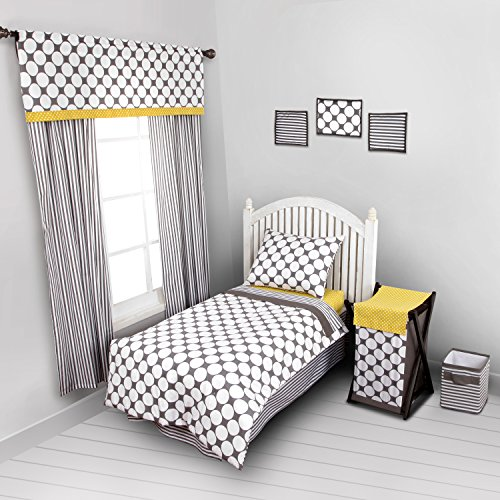 Dots/Pin Stripes Grey/Yellow 4 pc Toddler Bedding Set - 1