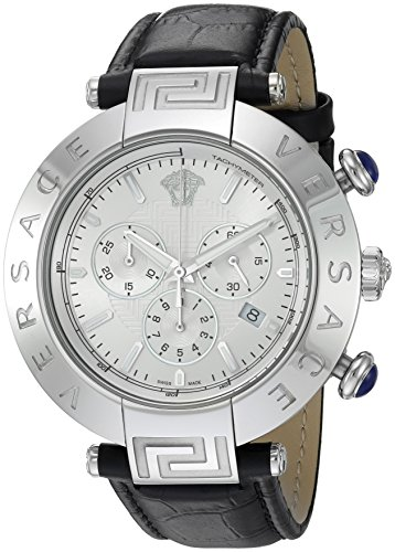 Versace-Mens-REVE-CHRONO-Swiss-Quartz-Stainless-Steel-and-Black-Leather-Casual-Watch-Model-VQZ020015