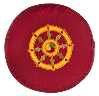 Meditationskissen Glückssitz Rondo Dharmarad bordeaux, 33 cm x 17 cm, Bezug und Inlett 100 % Baumwolle, Füllung Buchweizenschalen, Bezug und Inlett maschinenwaschbar bis 30º C