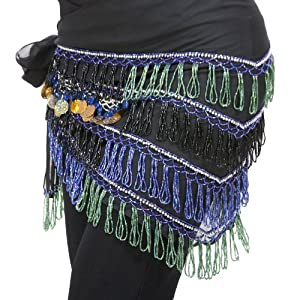 Beautiful! Brand New Belly Dance Hip Scarf with Sequins & Beads 100% Handmade,black