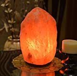 HemingWeigh Natural Himalayan Rock Salt Lamp 6-7 lbs with Wood Base, Electric Wire & Bulb