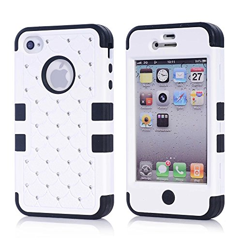 iPhone 4S Case, KAMII 3 Layers Verge Hybrid Soft Silicone Hard Plastic Triple Quakeproof Drop Resistance Protective Case Cover for Apple iPhone 4/4S (White Black) (Iphone 4s Back Glass Marvel compare prices)