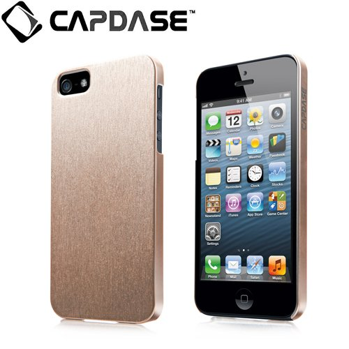 CAPDASE 日本正規品 iPhone5 Karapace Jacket Silva Satin, Gold (クリスタル・クリアー液晶保護シート、ムービースタンド、プロテクティブ・ポーチ 付属) KPIH5-SA0T