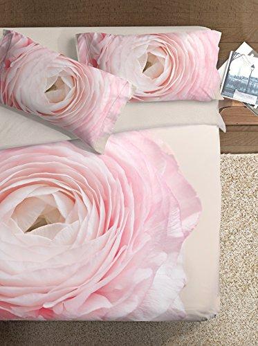 Ipersan Set Copripiumino Fine Art Disegno Peonia Beige/Rosa matrimoniale 255 x 200 cm