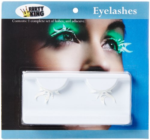 Party King Women's Glow In The Dark Butterfly Eyelashes, White, One Size