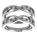 Sterling Silver Wedding Ring Enhancer (0.24 CT. Black And White Diamonds).