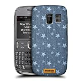 Head Case Designs Stars Printed Denim Protective Snap-on Hard Back Case Cover for Nokia Asha 302
