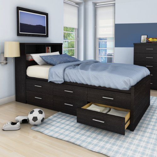Lovely  Detail shop Sonax S LWB Single Captain us Storage Piece Bed Set with Bookcase Headboard Ravenwood Black