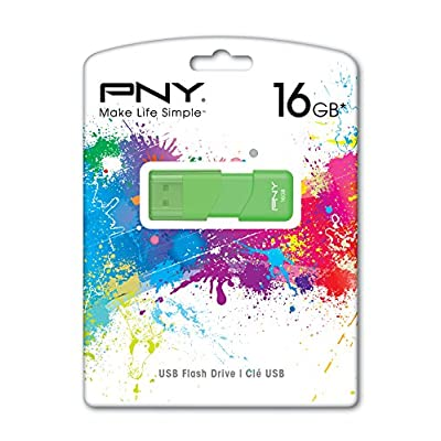 PNY Attache 16GB USB 2.0 Flash Drive, Green (P-FD16GATT3G-GE)