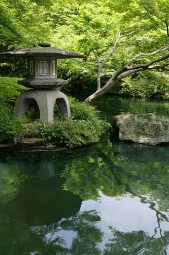 """Japanese Garden and Pond - 36""""H x 24""""W - Peel and Stick Wall Decal by Wallmonkeys"""
