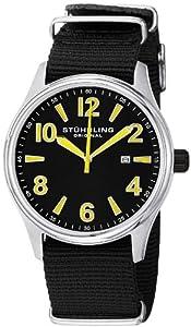 Stuhrling Original Men's 406A.331OB65 Leisure Eagle Nighthawk Swiss Quartz Date Black Canvas Strap Watch