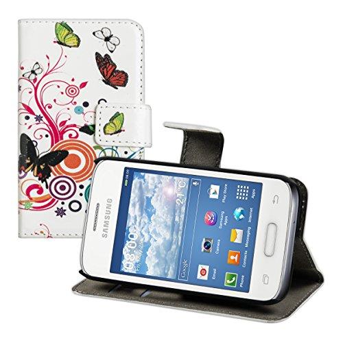 kwmobile Wallet case Custodia a portafoglio per Samsung Galaxy Young II - Custodia flip cover in Design farfalle hippy con scompartimento tessere e funzione supporto in multicolore fucsia