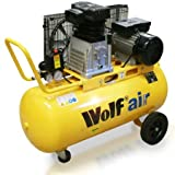 Wolf Dakota 90L 14cfm 3HP 240v Twin Cylinder Pump Air Compressor - Belt Driven, Operates upto 10Bar (150psi)